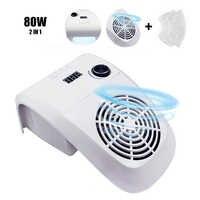 80W 2 en 1 collecteur d'aspiration de poussière d'ongle avec aspirateur de lampe à ongles avec ventilateur puissant sac de collecte de poussière équipement d'art d'ongle