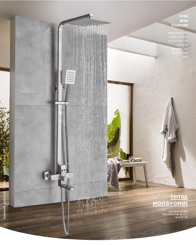 H71610efba45b4040b8c5e8f4cd36b5fdq POIQIHY Black Bathroom Shower Faucet Set Wall Mount Black 8''Rainfall Shower Head With Handheld Sprayer Bathtub Shower Mixer
