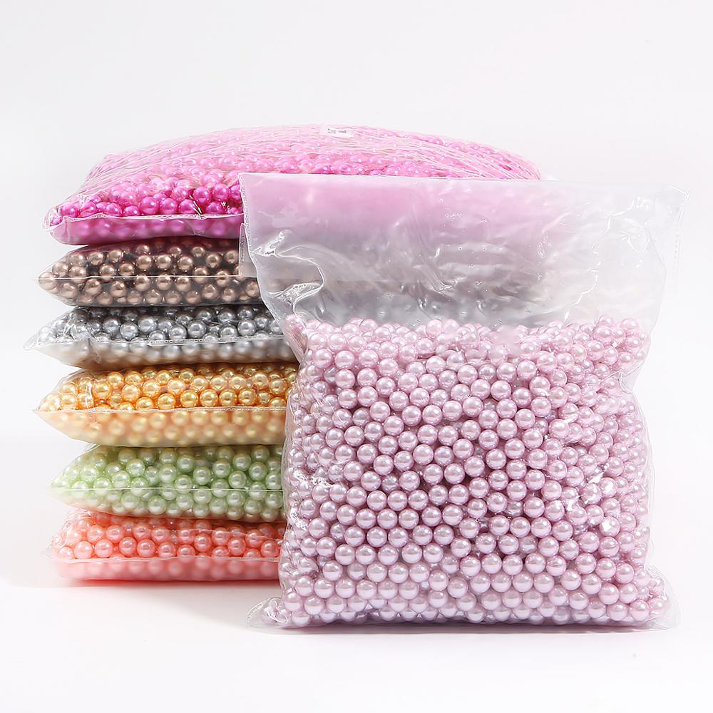 3/4/6/8/10mm redondo Multi Color sin agujero acrílico imitación perlas cuentas sueltas para DIY decoración para scrapbook manualidades
