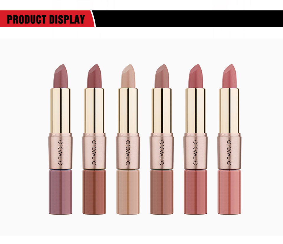 O.TWO.O Product Display Lipstick and Liquid Lipstick