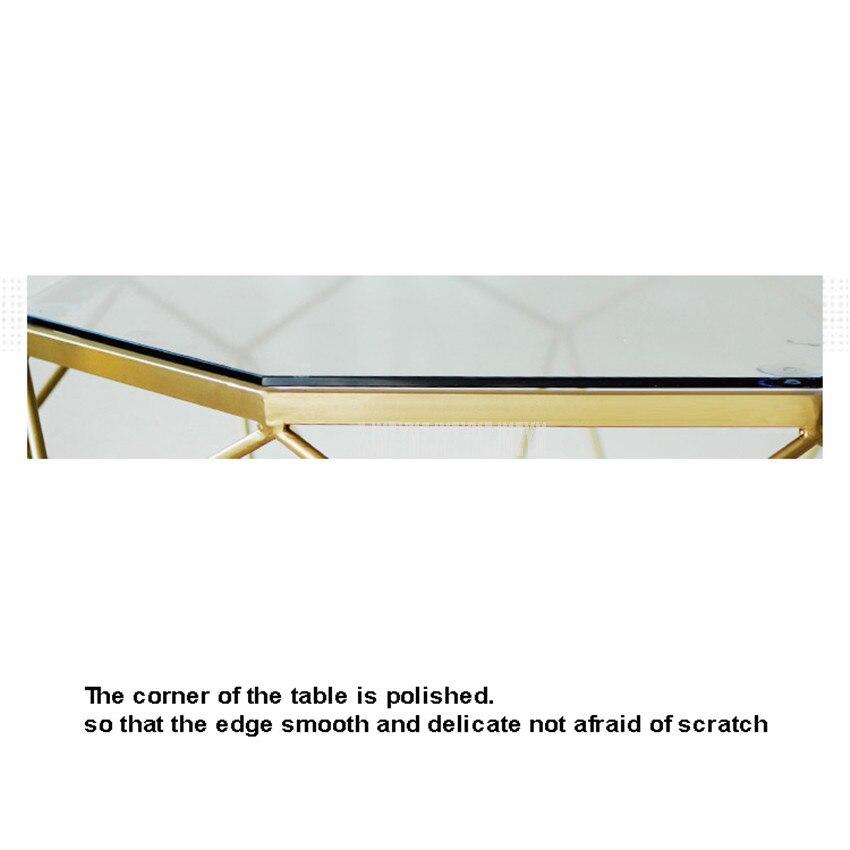 47cm nordique géométrie fer Art Table à thé créatif petit verre trempé bureau fer jambe salon Table mode meubles de maison - 3