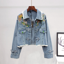 Women Denim Jacket For Feminine Spring Autumn Floral Appliques Embroidery Coat Long Sleeve Outerwear Female Clothes