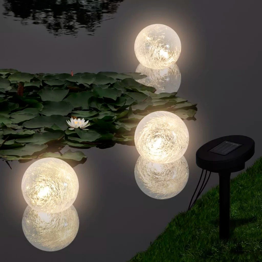 VidaXL 3 Pc Waterproof Floating Ball Solar Light With A Solar Panel Durable Outdoor Light Suitable For Pool Pond Fountain