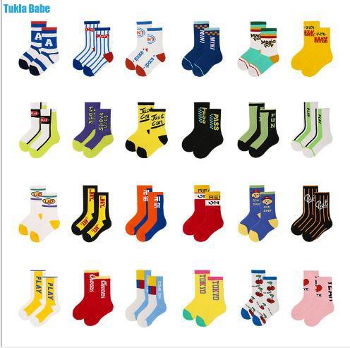 3-12Year 4Pairs Pack Children Socks Autumn Letters Street Sports Style Personality Kids Boy Girls Cartoon Kids Tube Socks 1