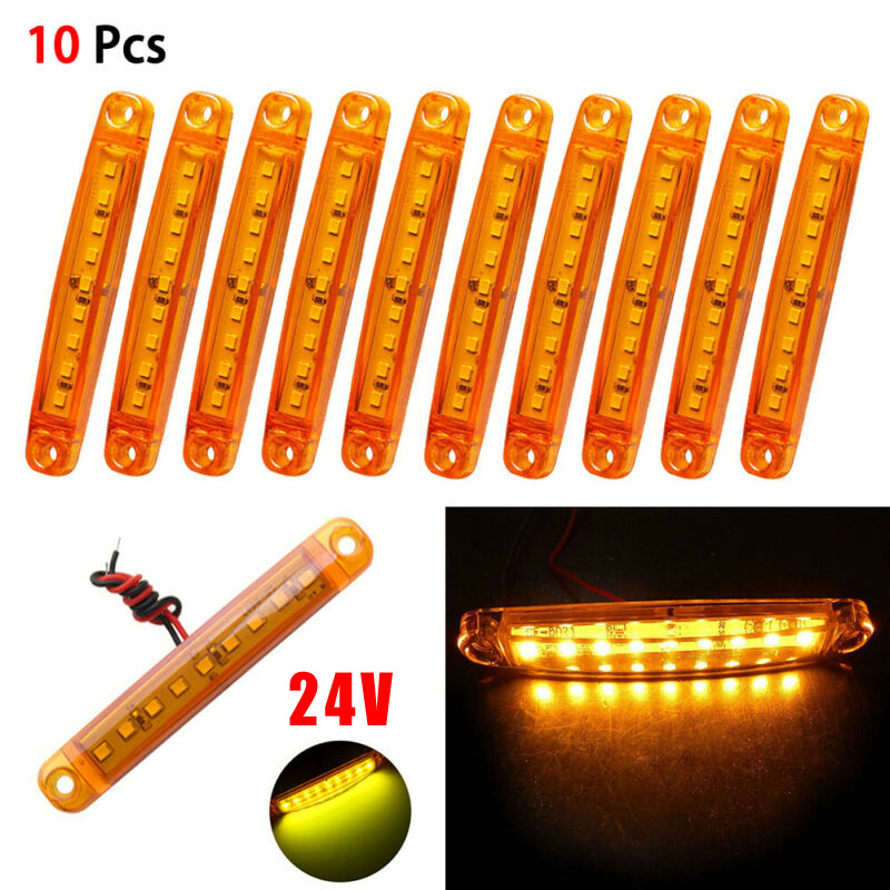 10Pcs Amber 9 LEDs Sealed Side Marker Clearance Light 24V Signal Lamp For Car Truck Trailer Lorry