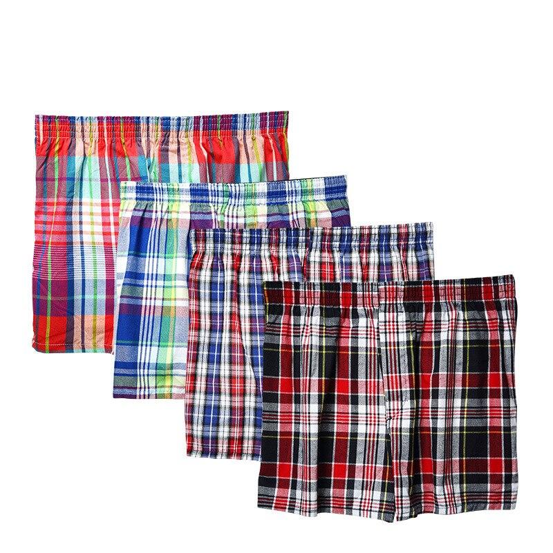 Men's Cotton Shorts Knit Trunks Plaid Woven Mid Waist Underwear Plus Size Pants Coton Men Shorty Boxer Homme Long Boxers 7XL