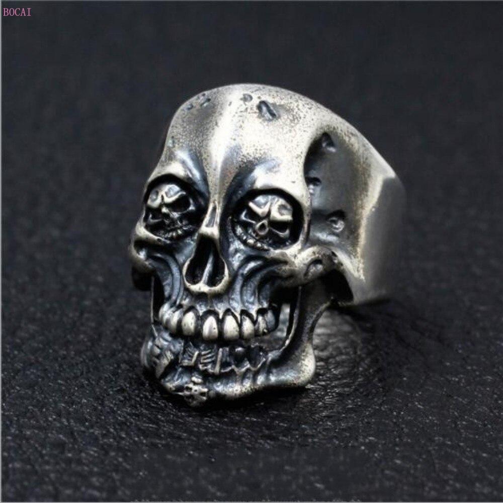 2019 кольцо Король скелетов , Серебро s925 пробы, тайское серебро, ручная работа, властное ретро кольцо для мужчин, указательный палец, большие к...