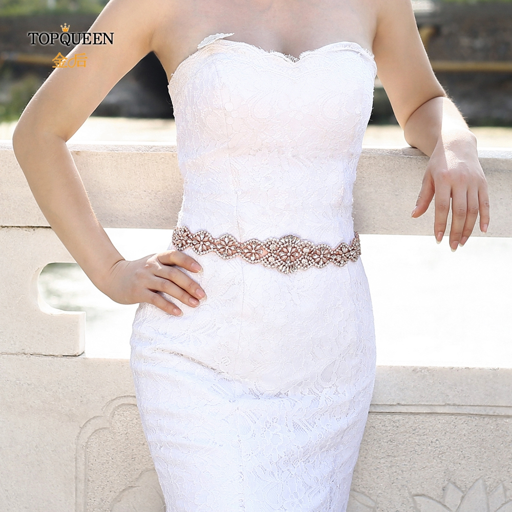 TOPQUEEN S161-RG Rhinestone Belt For Wedding Dress Bridal Sash Belt Rose Gold Bridal Belt Luxury Crystal Diamond Wedding  Belt