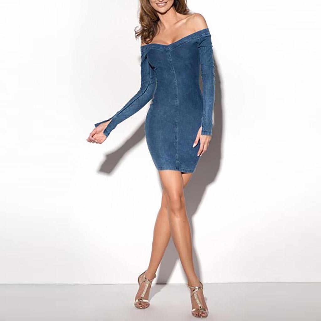 Nouveau automne femmes robe Vintage bouton Denim moulante robes jeans décontractés slash cou courte Mini robe vêtements féminins