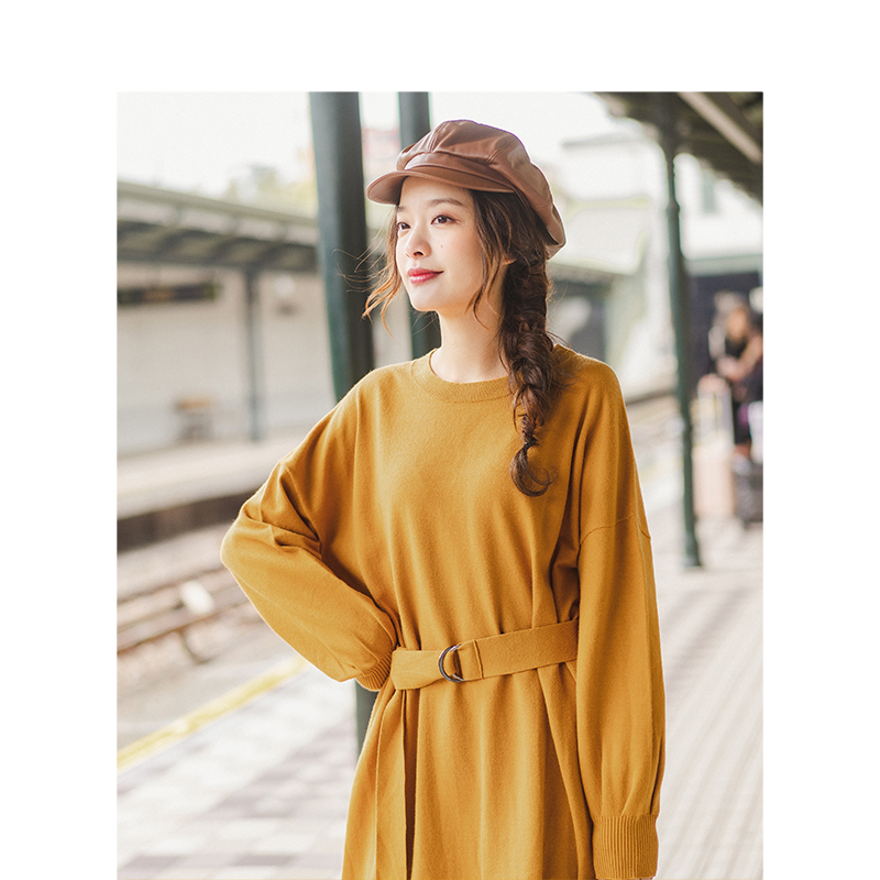 INMAN Spring Autumn O-neck Drop-shoulder Sleeve Solid Loose Casual With Belt Women Jersey Dress