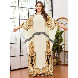 Women Casual batwing sleeve floral printed chiffon Dress african dashiki loose abaya kaftan ramadan robe moroccan gown VKDR2315