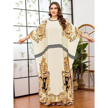 Women Casual batwing sleeve floral printed chiffon Dress african dashiki loose abaya kaftan ramadan robe moroccan gown VKDR2315 - discount item  35% OFF Muslim Fashion