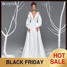 Сексуальное атласное свадебное платье трапециевидной формы с v образным вырезом BE CHOYER EL11, кружевное платье с длинным рукавом на молнии, платье для невесты принцессы Vestido de Noiva