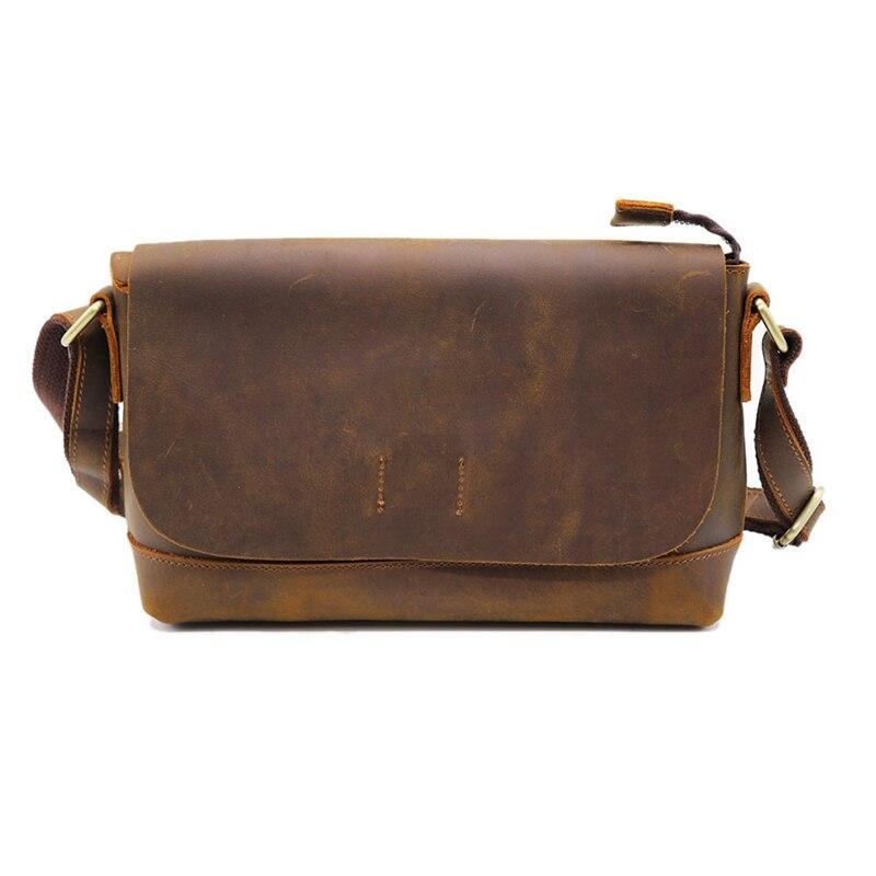 Crazy Horse cuir hommes bandoulière sac à bandoulière en peau de vache femmes sac Messenger sac cartable pour magasin voyage unisexe
