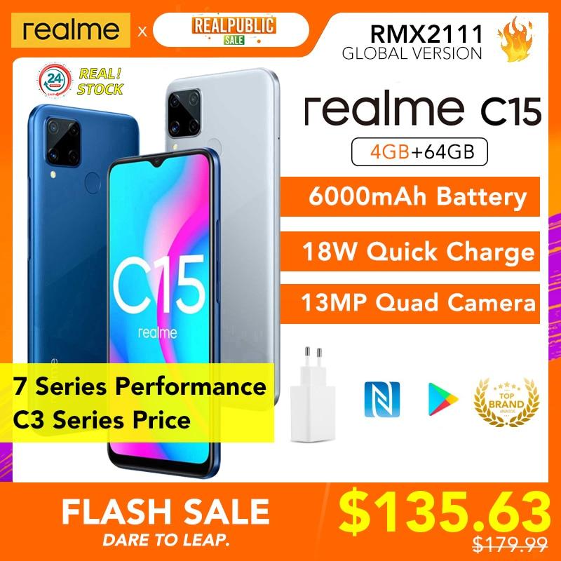 Realme C15 4Gb 64Gb 6000Mah Batterij Helio G35 13MP Quad Camera / C3 3Gb 64Gb mtk G70 Global Versie Ondersteuning Nfc Speciale Aanbieding