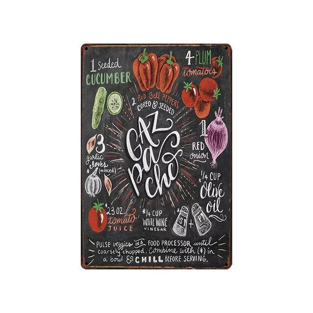 Еда/Питьевая кухня жестяная вывеска Декор металлическая тарелка настенный паб ресторан кафе домашний художественный Декор винтажный рекламный щит Железный плакат