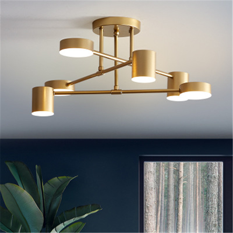 6 Heads New Nordic Wrought Iron Led Pendant Lamp Postmodern Creative Living Room Bedroom Dining Room Tricolor Light Fixtures
