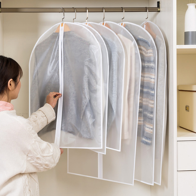 Hot Clothes Hanging Garment Dress Clothes Suit Coat Dust Cover Home Storage Bag Pouch Case Organizer Wardrobe Hanging Clothing 3