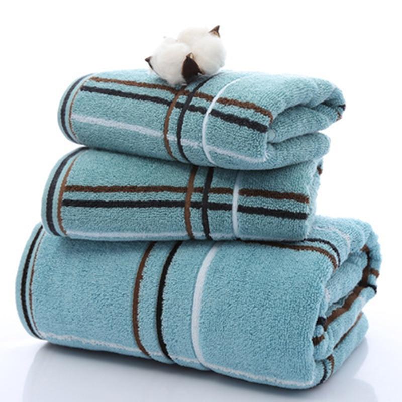 Towel Bath Hotel Special Soft Towel Perfect Simple Plaid Towel Set (2 * towel 1 * bath towel) Home Textiles 4