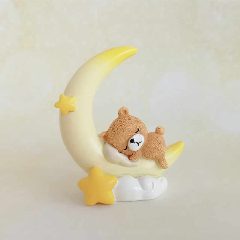 שרף קרפט cartoon ירח שינה דוב פיסול בית שולחן העבודה קישוט עוגת אפיית קישוט אביזרי מתנה a4112