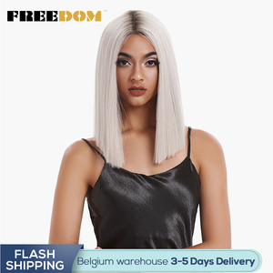 FREEDOM Straight Synthetic Hair Lace Front And T Part Wig 14 Inch Wigs Blue Ombre Wig Colors Choice Cosplay Wig Free Shipping(China)