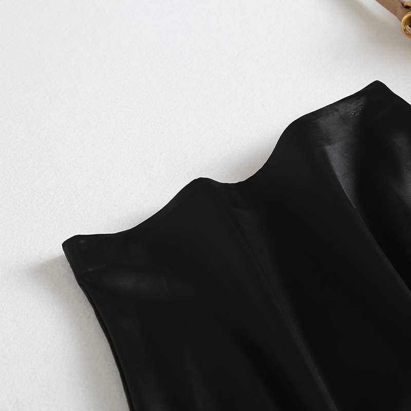19 New Hot Women Luxury Mid-calf Long Soft Smooth Silk Satin Skirts Office Lady Hight Waist Glossy Silver Black Party Skirt 8
