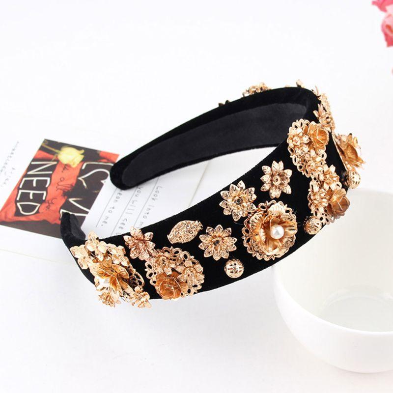 Feminino luxo resistente barroco bandana liga de ouro flor strass cabelo hoop