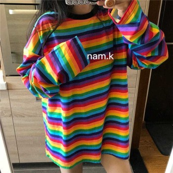 2020 Spring Fall Oversize Women Tshirts Long Candy Streetwear Casual Striped T-shirt Harajuku Patchwork Tops sleeve rainbow