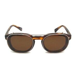 Image 2 - Gepolariseerde Clip Op Zonnebril Mannen Ronde Brillen Frame Acetaat Snap Op Verwisselbare Lens Vintage Shades Brand Design Oculos De Sol