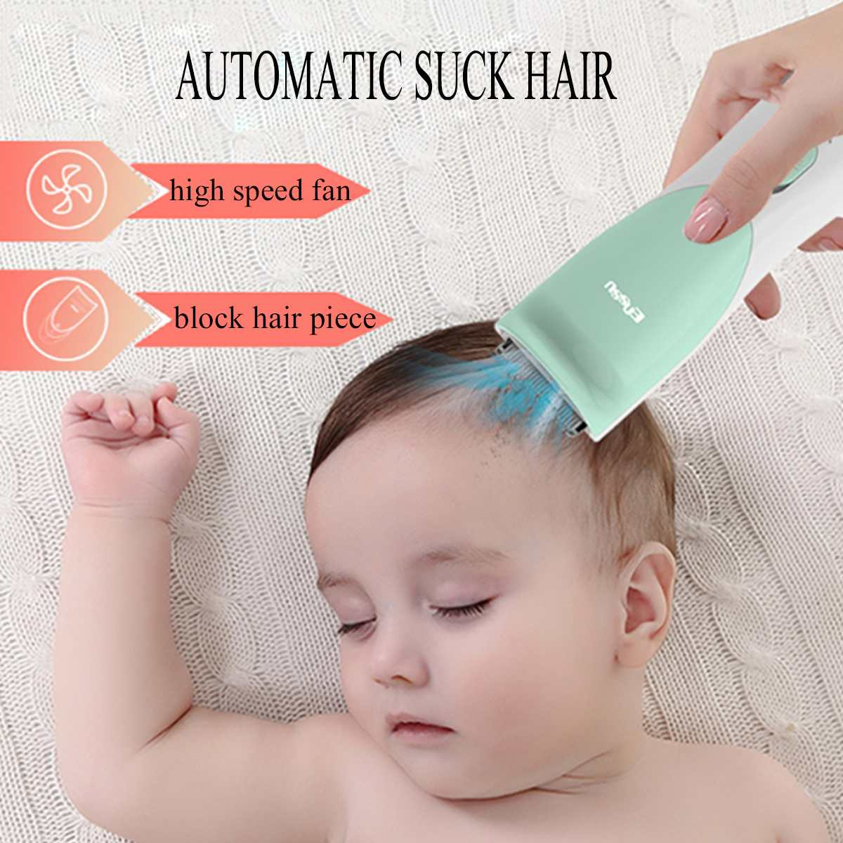 8pcs Baby Hair Clipper Child Hair Clippers Electric Quiet Trimmer Child Silent Cutting Machine Kids Infant Women Pet Hair Shaver