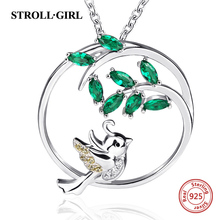 StrollGirl sterling silver 925 lovely bird & tree pendant necklaces with green zircon diy fashion jewelry making for women gift