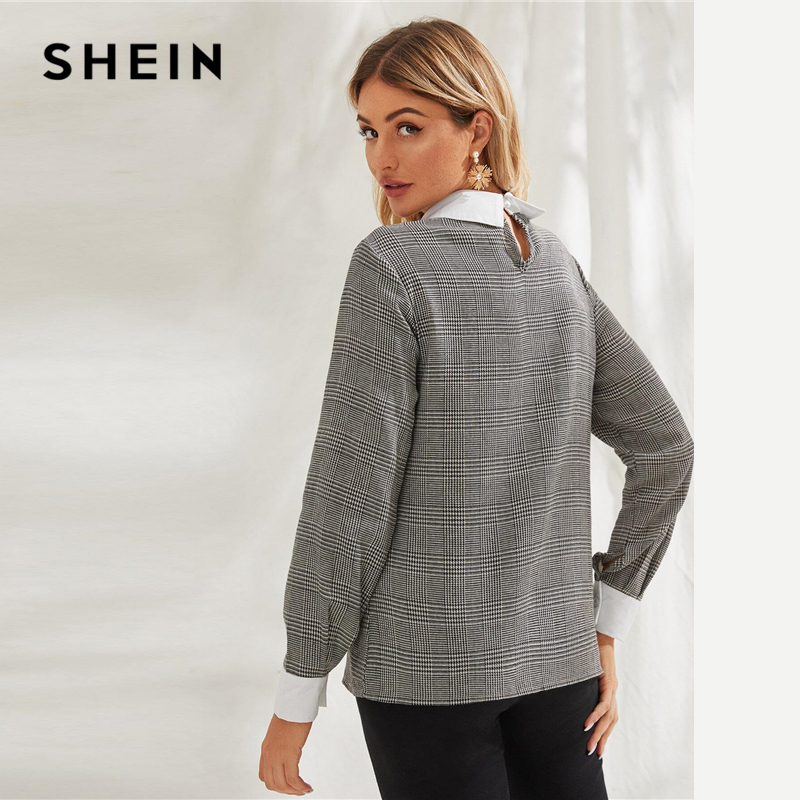 SHEIN Grey Contrast Collar Plaid Print Elegant Blouse Women 2020 Spring Long Sleeve Office Ladies Buttoned Keyhole Back Blouses 2
