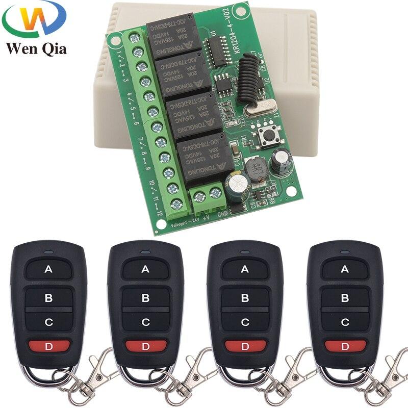 Transmissor sem fio universal do rf do receptor do interruptor de controle remoto 433mhz dc 6v12v 24v 30v 4ch10a para a garagem/portão/motor/luz/lâmpada