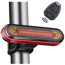 إضاءة دراجة هوائية USB قابلة للشحن الذيل ضوء تحذير الدراجة الخلفية ضوء الذكية اللاسلكية عن بعد بدوره مصباح إشارة LED دراجة فانوس