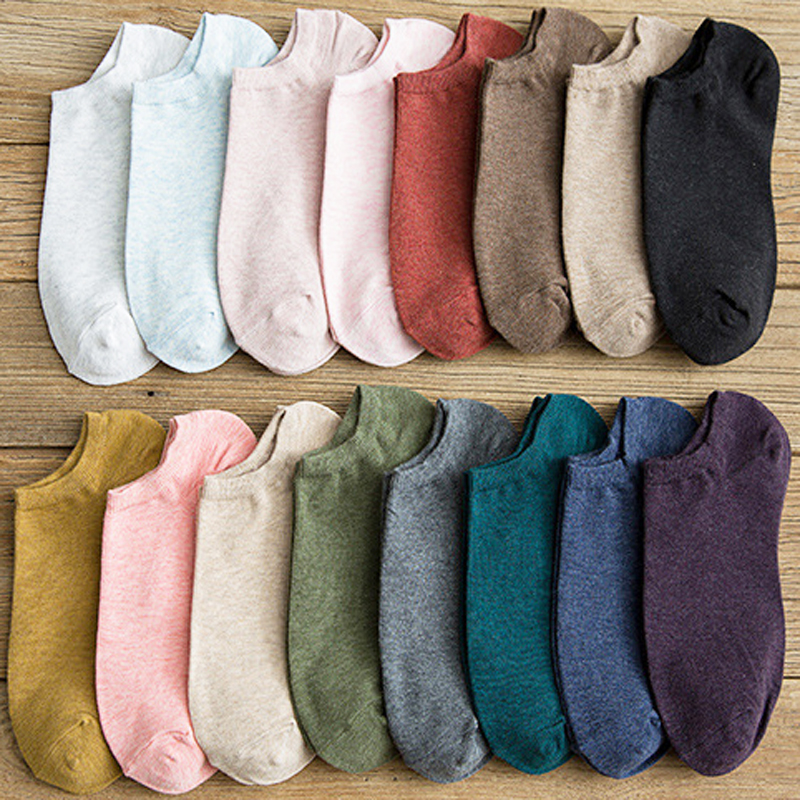 New Women Socks Solid Color Japanese Style Invisible Boat Socks  Cute Unisex Skatebord Socks Hipster Fashion Ankle Socks