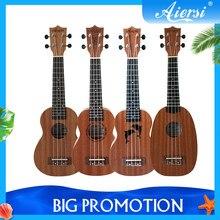 Aiersi – ukulele Soprano en épicéa d'acajou, 21 pouces, avec Design Gecko, dauphin, ananas, guitare avec sac, capodastre de Tuner