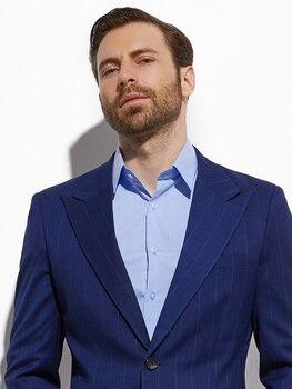 2020 Custom Made  Men Suit Slim Fashion Dark Blue Super Wide Chalk Stripe Stylish Suit Men Business Suit With Pants women s stylish slim three quarter sleeve small suit dark blue l