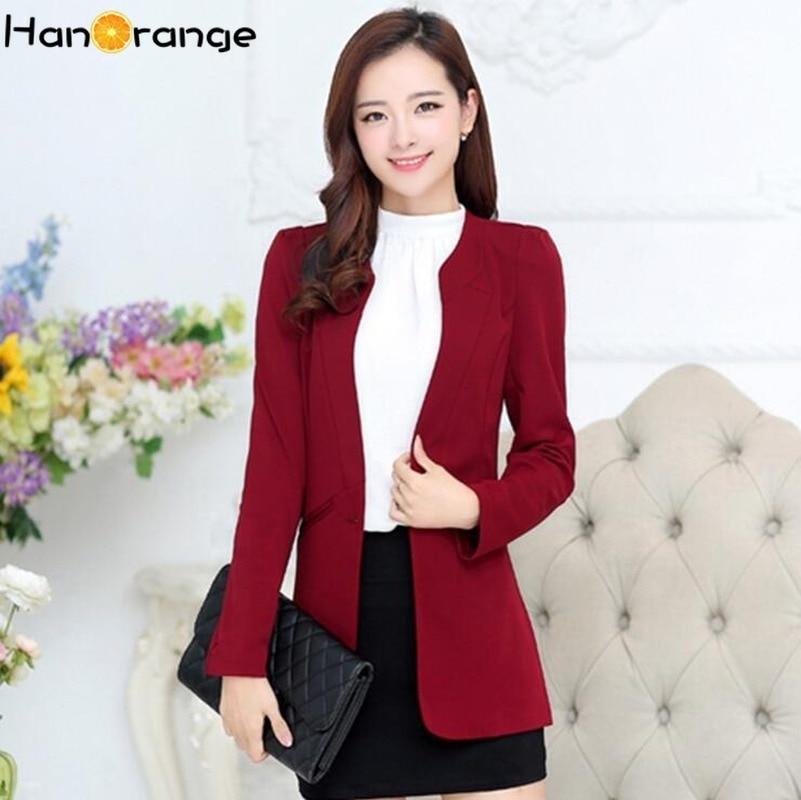 Casual No Collar Slim Fit Blazer Autumn Female 2020 OL Single Button Women Jacket
