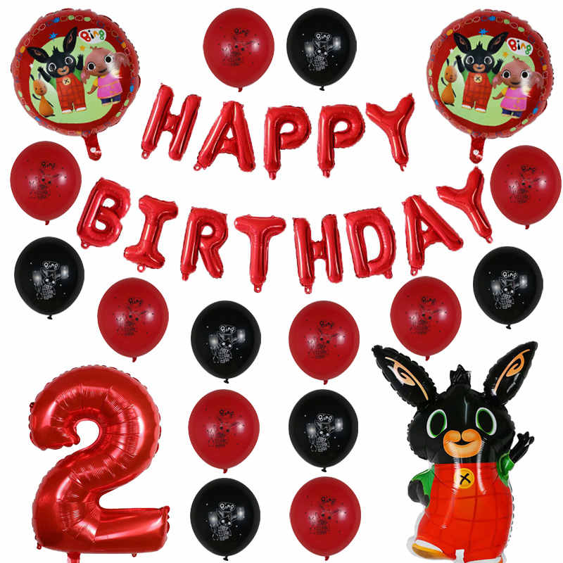 38pcs bunny Foil Balloon Cartoon Rabbit Balloons 30 inch Number Baby shower 1 2 3 4 5 6 7 <font><b>8th</b></font> <font><b>Birthday</b></font> Party Decor bing Kids Toy image