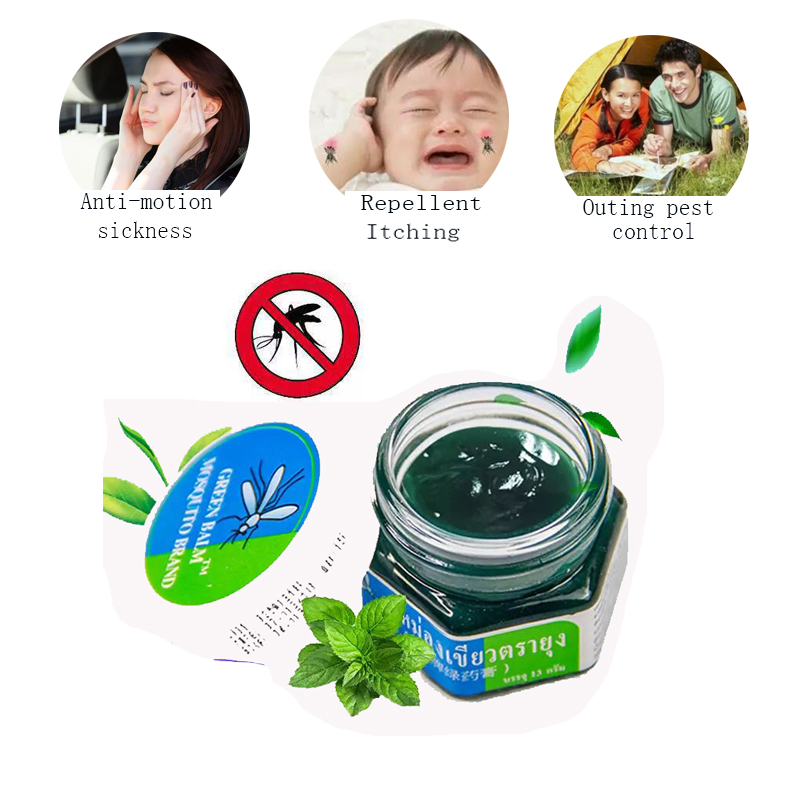 100% Original Thailand Herbal Green Ointment For Headache Toothache Dizziness Pain Relief Medical Plaster Painkiller Ointment