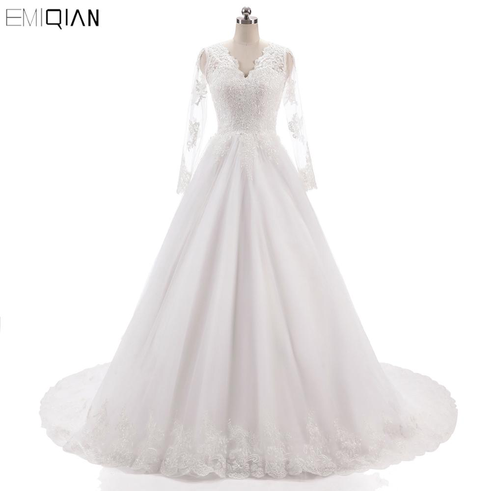 Robe de noiva Vintage V décolleté dos nu robes de mariée dentelle appliques robes de mariée manches longues robes de mariée