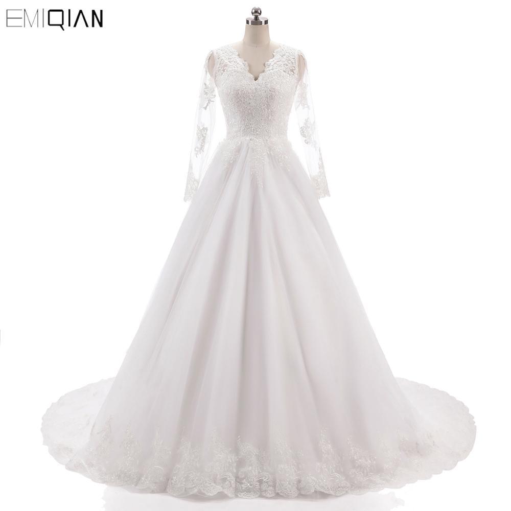 Vestido De Noiva Vintage V Neckline Backless Wedding Gowns Lace Applique Bride Dresses Long Sleeves Wedding Dresses