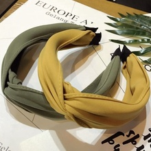 Solid Color Cross Bow Knotted Headband for Women Korean Chiffon Twist Hairband Headwrap Wide Hair Hoop Hair Accessories