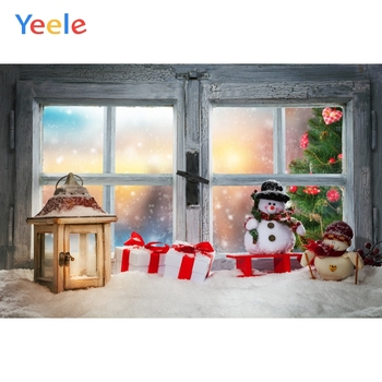 Yeele Christmas Party Backdrops for Photophone Windows Snow Snowman Latern Newborn Baby Backgrounds Photocall For Photo Shoot image