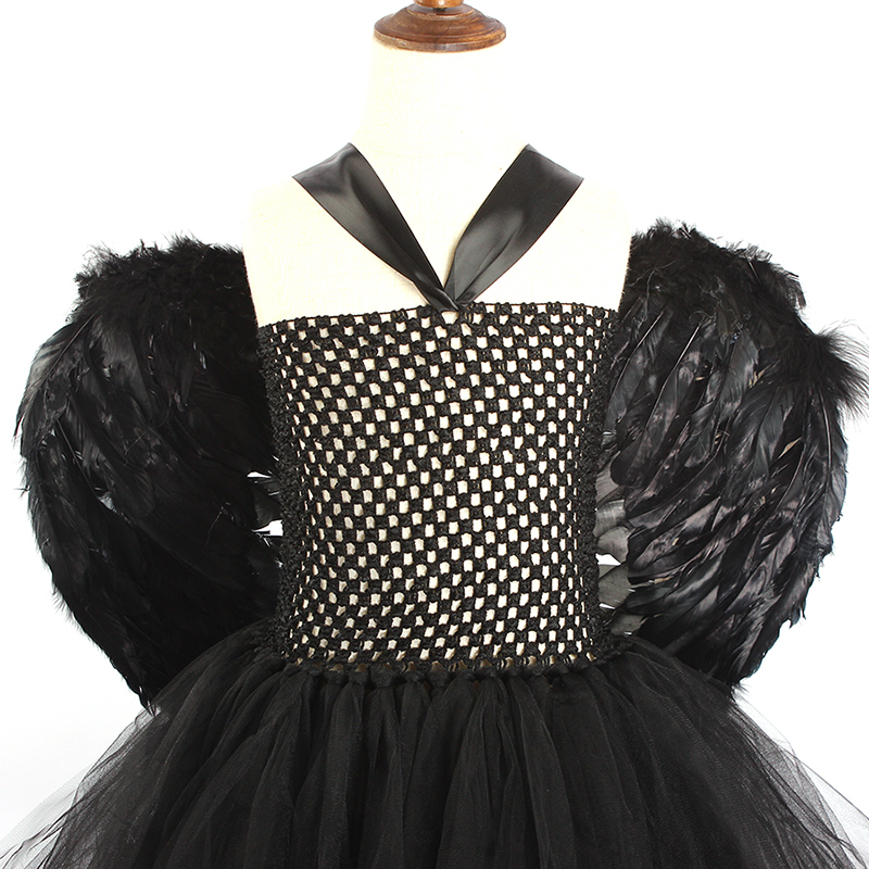 Black Maleficent Evil Queen Girls Tutu Dress with Horns Wings