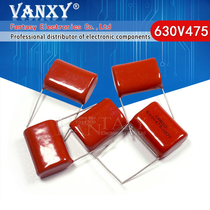 5 шт. 630V475 4,7 мкФ Шаг 25 мм 630 в 475 CBB полипропиленовый пленочный конденсатор