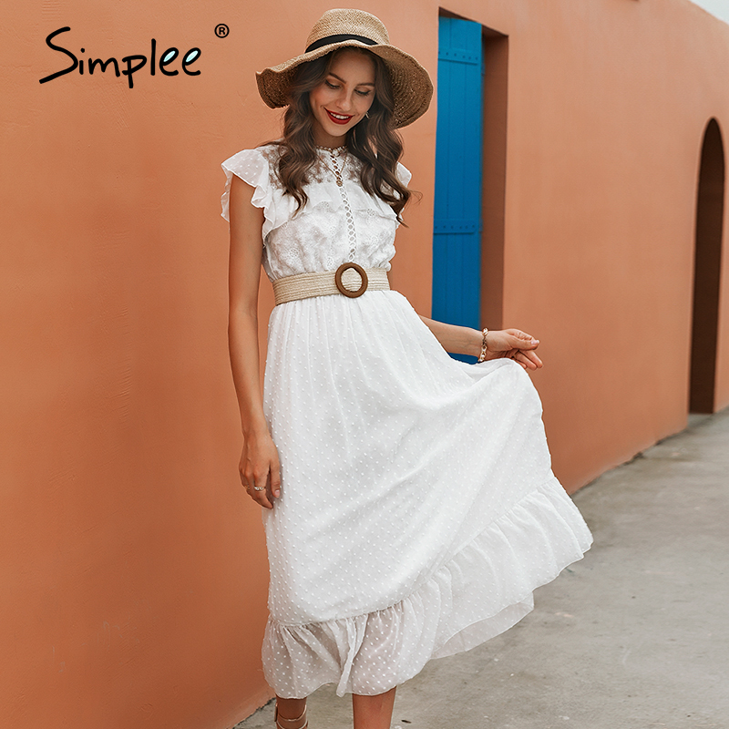 Simplee lace splicing white long women dress Summer 2020 elegant straight office lady dress Sleeveless round neck dress casual