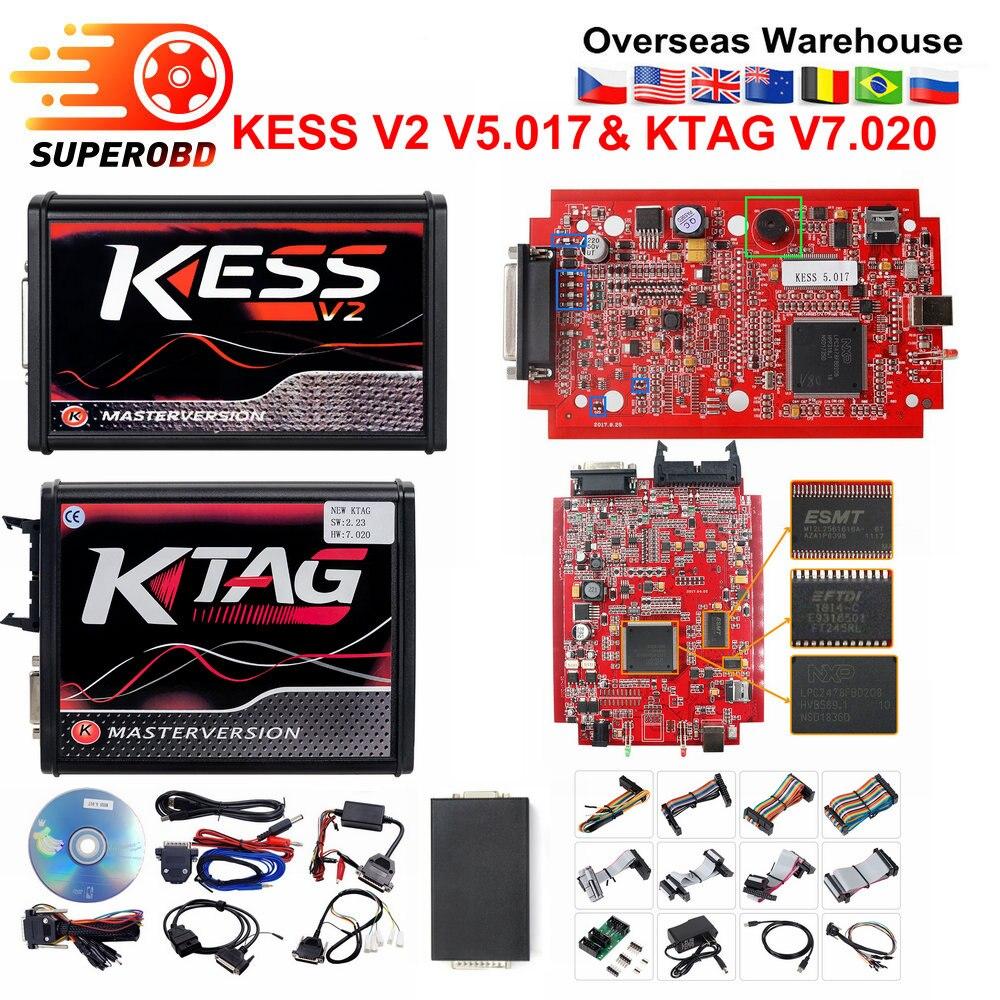 Online EU Red KESS V2 V2.47 V5.017 Master No Token  Ktag V7.020 V2.25 4LED  OBD2 Ecu Chip Tuning Manager Tuning Kit