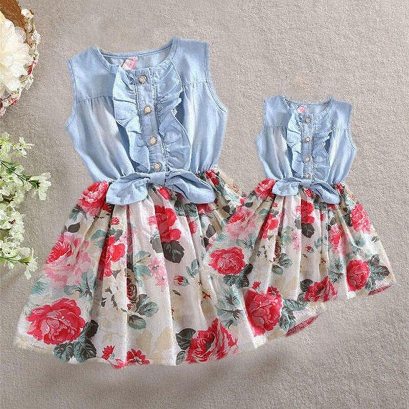 Letnie sukienki dla matki i córki rodzina pasujące ubrania dla kobiet dzieci dziewczynka Ruffles bez rękawów sukienka kwiatowa elegancki strój kwiatowy