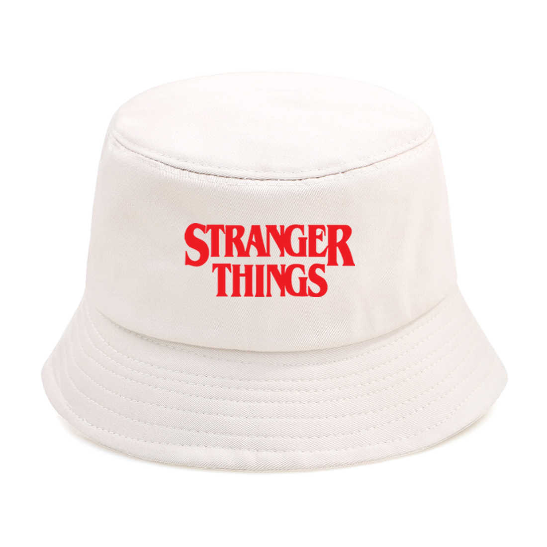 JXMK 56-58cm Hip Hop Stranger Things Bucket Hat Outdoor Summer Foldable Fishing Fisherman Hat Mens Sunscreen Beach Hat Unisex Panama Hat